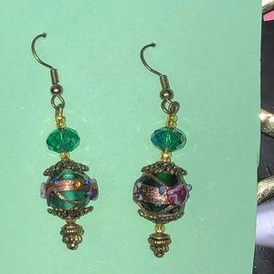 Pretty Lampwork Glass Bead Earrings